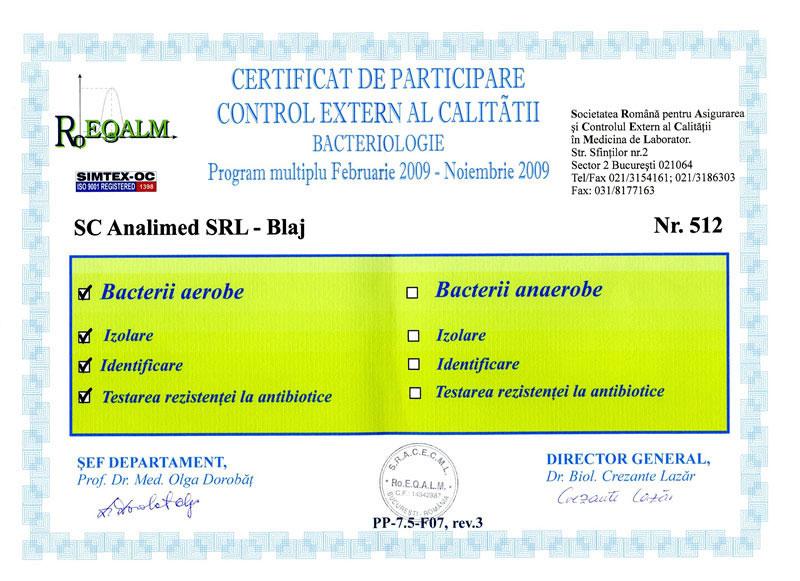 Certificat bacteriologie 2009 RoEq