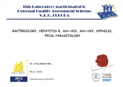 Certificat control extern bacteriologie 2012