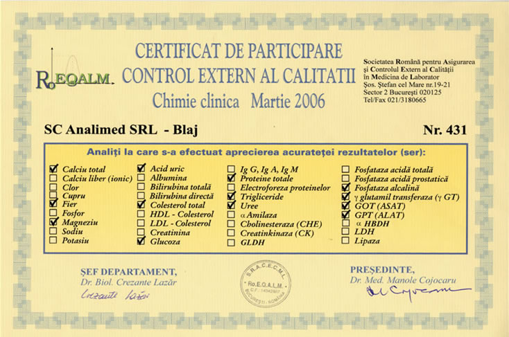 Certificat control extern de calitate chimie clinica roeqalm 2006