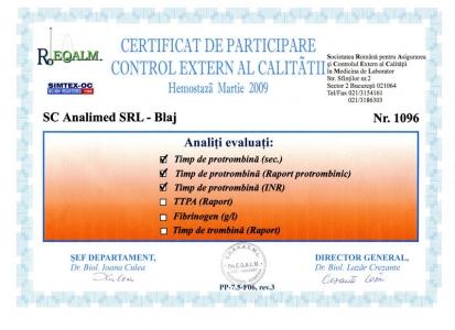 Certificat hemostaza martie 2009 RoEq