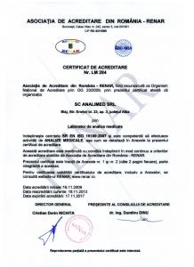 Certificat acreditare ISO 15189