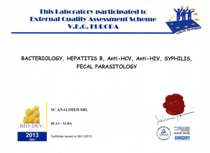 Certificat control extern bacteriologie 2013