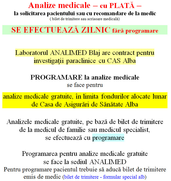 info analize medicale Analimed