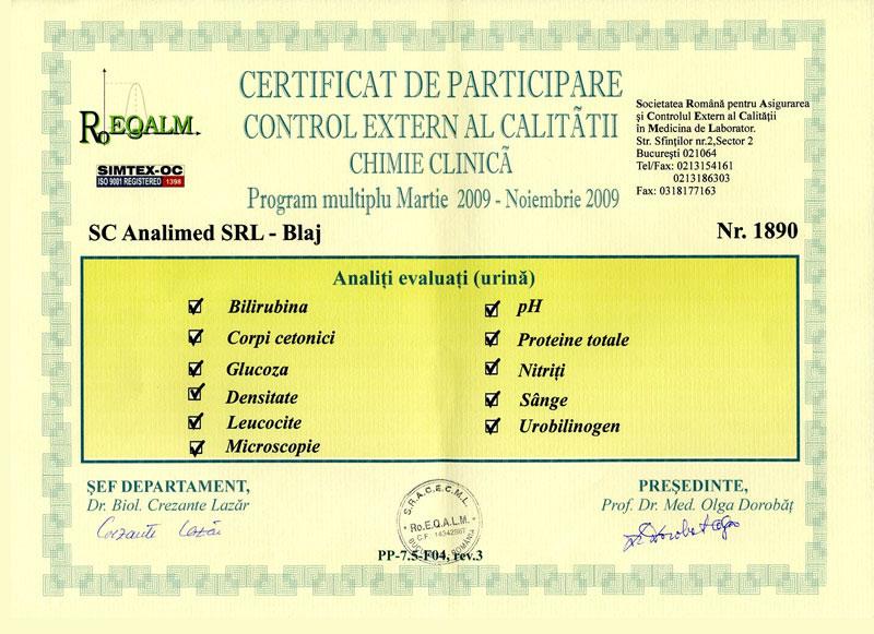 Certificat chimie clinica, urina 2009 RoEq