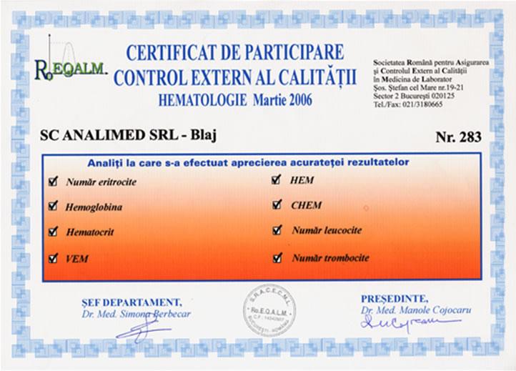 Control extern de calitate hematologie Roeqalm 2006