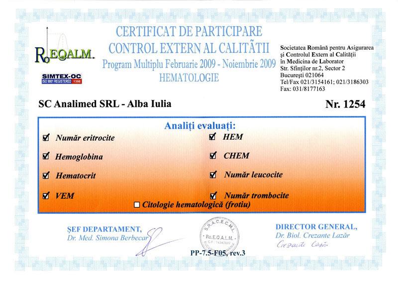 Certificat hematologie 2009 RoEq