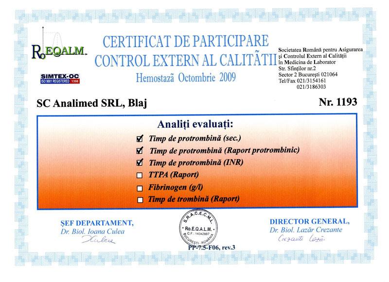 Certificat hemostaza octombrie 2009 RoEq