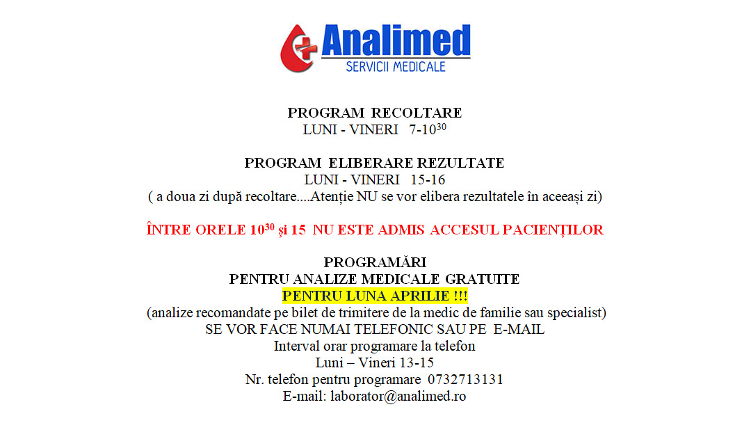 covid-19 analimed analize medicale